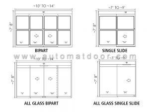 ابعاد درب اتوماتیک شیشه ای